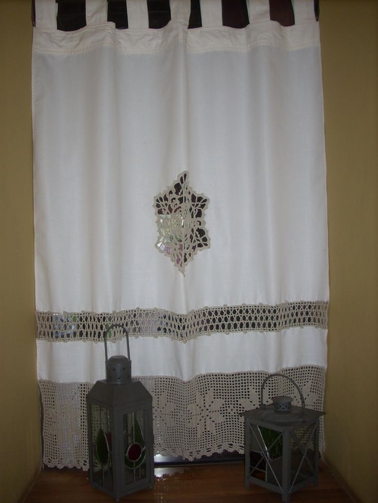 cortinas de tela con apliques de crochet - Buscar con Google