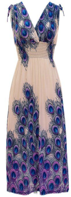 Peach Couture Exotic Tahiti Multicolor Border Print Maxi Dress.  The color, the cut, everything...I love this dress