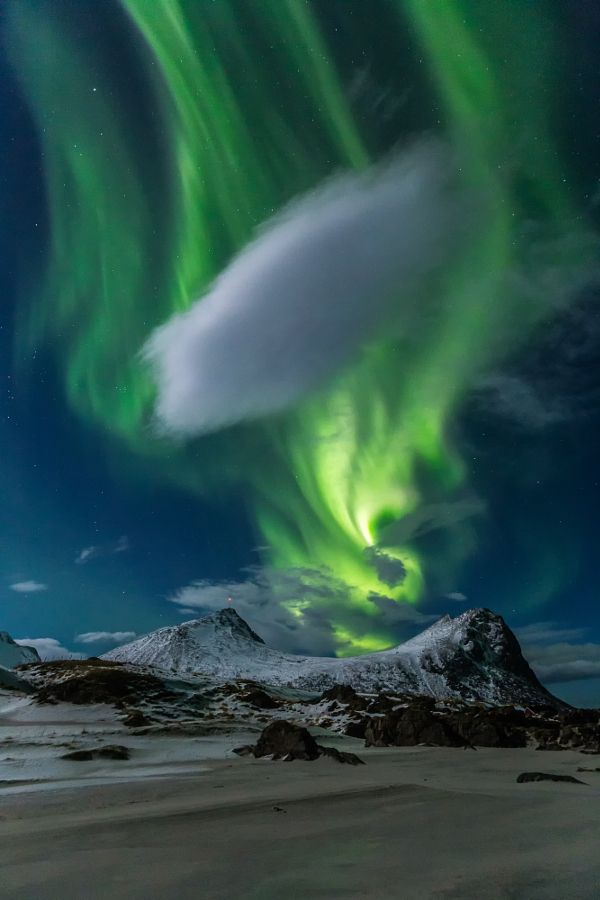 ~~Northern lights | aurora Borealis lights up the night sky over Myrland, Lofoten, Norway | by brigitte mohn~~