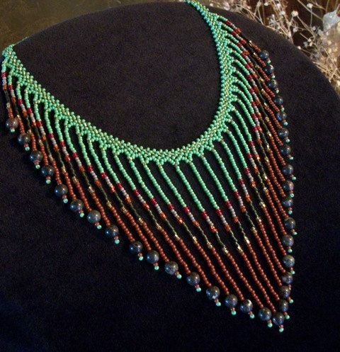 Glass & Stone Beaded Bib Necklace - Necklaces for Women