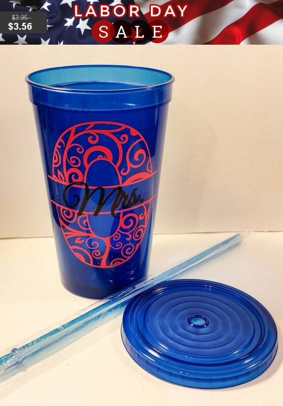 Personalized Spiker Tumbler, BPA free Custom Travel Mug, Snap on Lid and Straw, Party Cup, 7 color options, vinyl decal, monogrammed design
