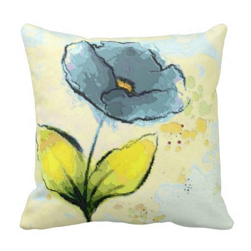 Lovely Dusty Blue Water Color #FlowerPillow
