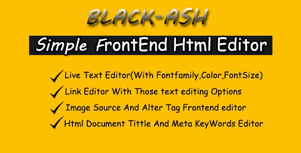 BLACK-ASH - JavaScript Front-end HTML Editor - Price $10
