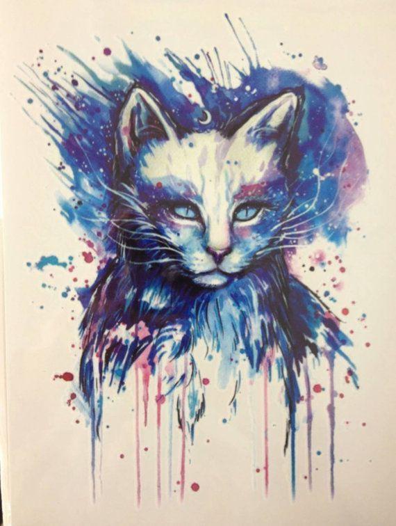 super cute big COLORFUL CAT temporary tattoo by almasjewelryart #Tattoos #almasj… #Tattoos