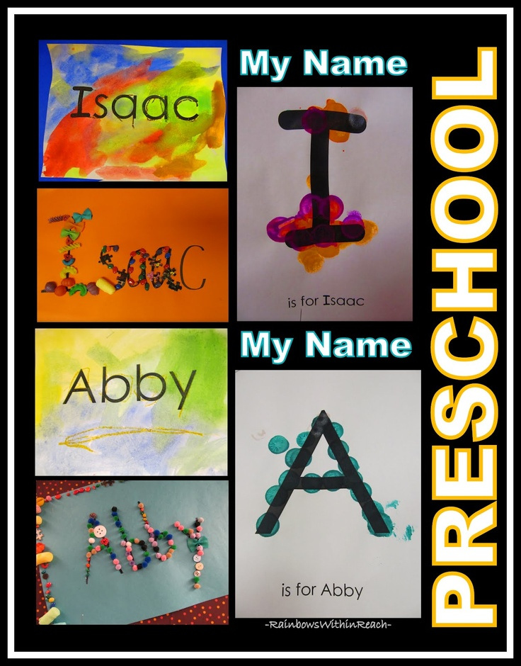 Name Recognition in Preschool, Name Projects for Literacy (via RainbowsWithinReach0Recognition Art, Name Crafts, Projects, Literacy, Names Crafts, Preschool Ideas, Names Art, Letters Activities, Names Recognition
