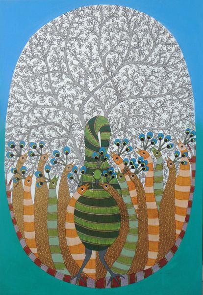 Peacocks by Rajendra Shyam, Gond art of India