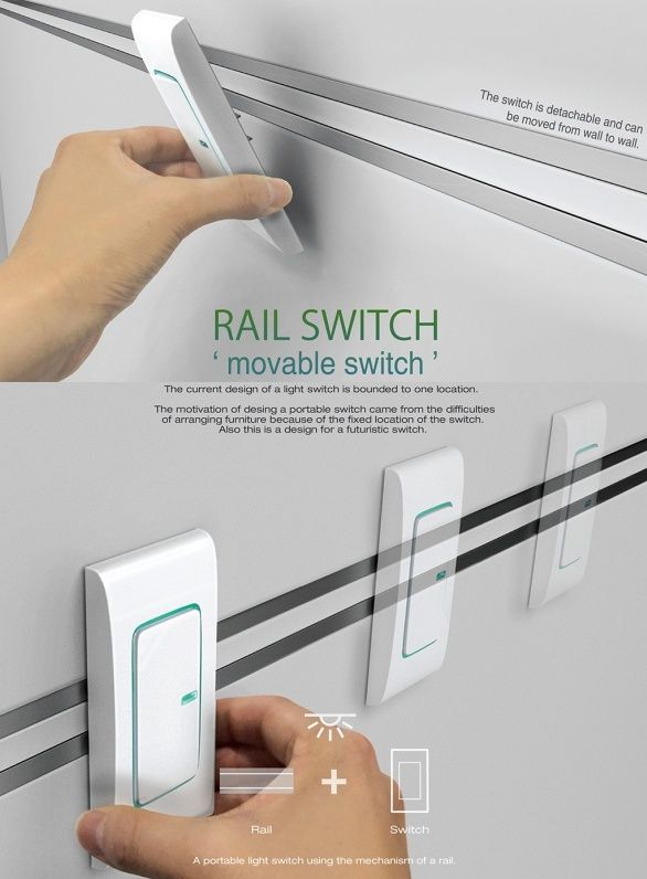 The #Rail Switch is for all us lazy people who are neatly tucked into bed and don't want to get up to turn off the lights. Mounted on twin tracks, the switch moves around the room and even features an #LED glow, so that you don't fumble in the dark. I like it for it's convenience and functionality. #Switch #Technology #Product #Design #YankoDesign
