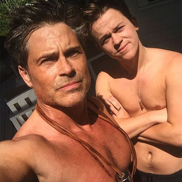 "Rob Lowe and his son, John Owen ""Johnny"" Lowe, on March 17, 2016"