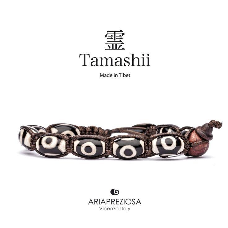 """Tamashii - Serie Speciale BkraShi realizzato con pietre naturali Onice con disegno tradizionale a mano dal significato """"SALUTE"""""""