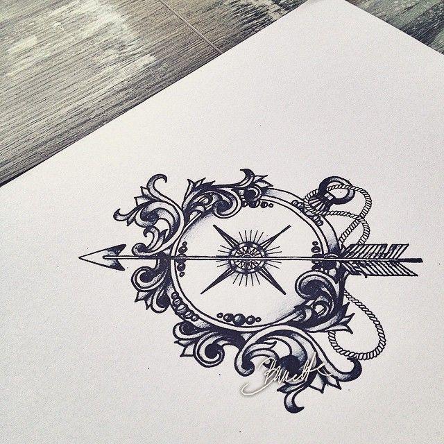 #compass #bunette #filigree #tattoodesign #tattoo #arrowtattoo #arrow - thebunettedesigns