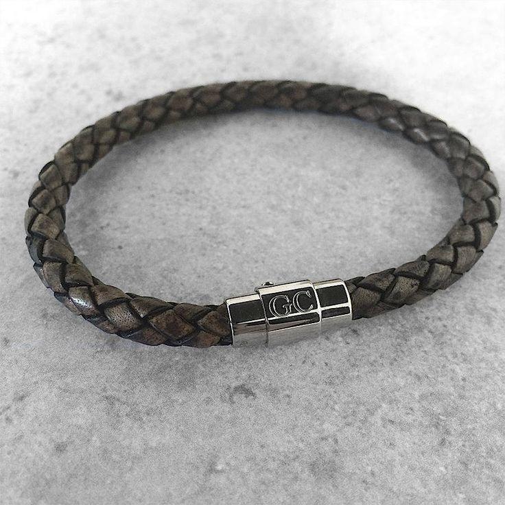 Men's Personalised Clasp Plaited Leather Bracelet