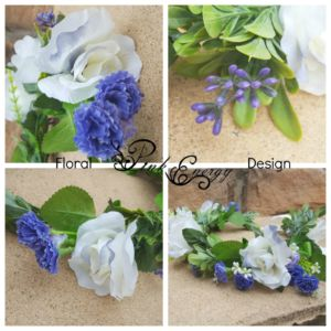 close up textures silk flower crown - blue and white