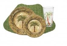 16PC Tropical Majestic Palm Melamine Outdoor Dinnerware Set for 4