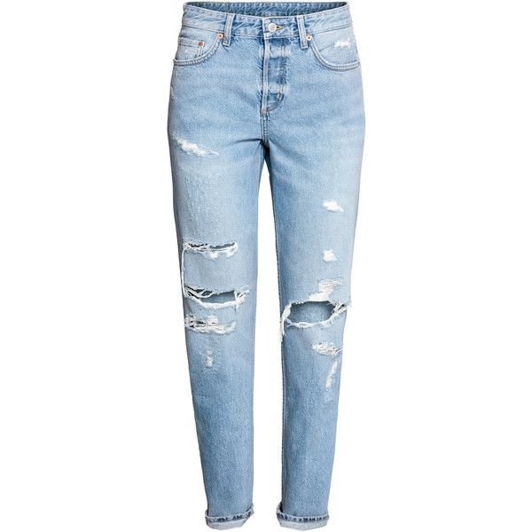 Boyfriend Low Ripped Jeans $39.99 ($40) ❤ liked on Polyvore featuring jeans, pants, bottoms, calças, denim jeans, boyfriend fit jeans, torn boyfriend jeans, destroyed boyfriend jeans and blue distressed jeans