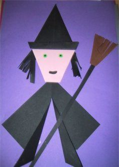 Heksen platte vlak knutselen » Juf Sanne