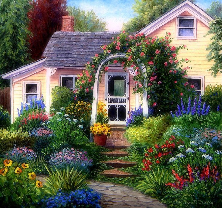 Houses House Garden Flowers Gardens Parks Attractions Dreams Paintings Drawings Beautiful Home Gardens Beautiful Gardens Dream Garden