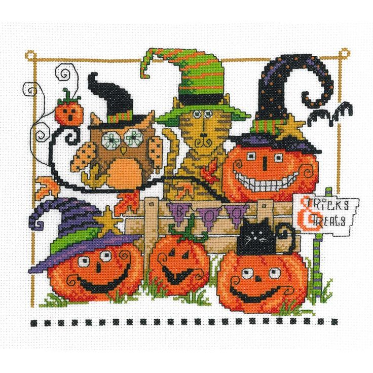 """Boo Friends Counted Cross Stitch Kit-9""""X7.5"""" 14 Count"""