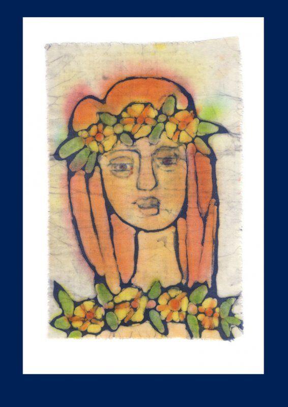 Batika, originál malovaný na plátně voskovou technikou.  Velikost plátna: 16 x 19 cm