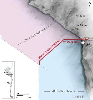 #LaHaya: El fallo respeta la postura chilena de una frontera marírtima en paralelo desde el Hito Uno, pero marca una diferencia en su extensión. La traza hasta 80 millas y luego define una línea equidistante hasta las 200 millas.