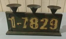 Metal 3 Hole Candle Holder - industrial distressed finish w/raised numbers
