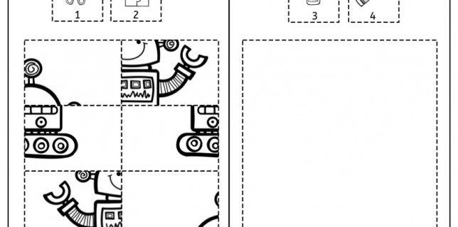 ausschneiden kleben ausmalen feinmotorik roboter legasthenie dyskalkulie kinder. Black Bedroom Furniture Sets. Home Design Ideas