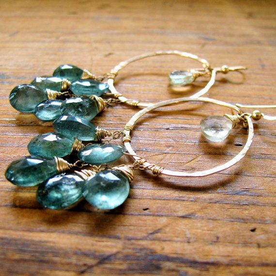 Graduation gift pleasee?? Great Water Hoops  XL Moss Aquamarine Green by delialangan on Etsy, $224.00