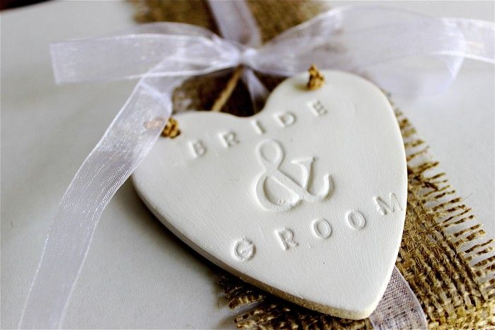 Clay Tags - Bride & Groom - White Clay Gift Tag or Ornament - by redpunchbuggy on madeit