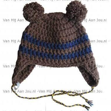newborn baby peuter kleuter maat -  jongensmuts - berenmuts- muts op bestelling gehaakt - met de hand op maat en kleur gehaakt - www.vanmijaanjou.nl -
