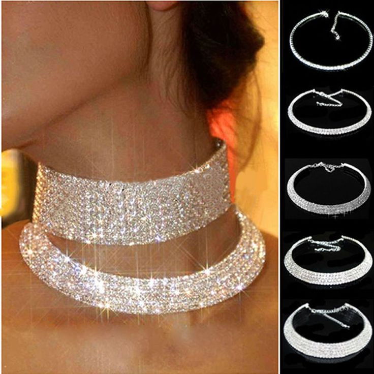 Vogue Women's Crystal Rhinestone Collar Choker Necklace Wedding Party Jewelry #Unbranded #Collar (jewelry to match)