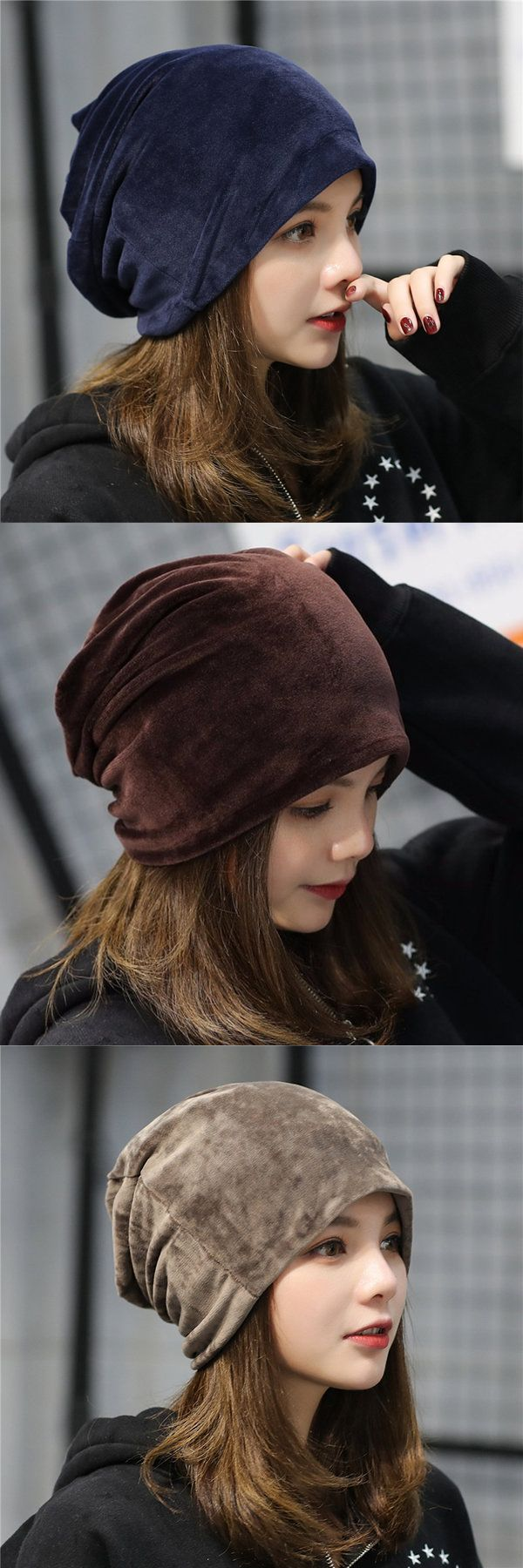 Women's Solid Velvet Skullies Beanie Hat Casual Ear Protection Windproof Warm Hat