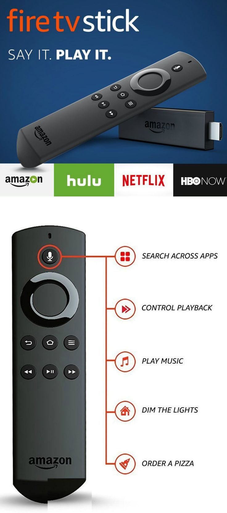 Fire TV Stick with Alexa Voice Remote Streaming Media Player Review With Fire TV Stick with Alexa Voice Remote Streaming Media Player you will enjoy tens of thousands of channels and apps, including Netflix, Hulu, HBO NOW, YouTube, Amazon Video, NBC, WatchESPN, Disney, and more! Alexa Voice Remote allows you to find the best way to watch across more than 190 channels and apps with universal