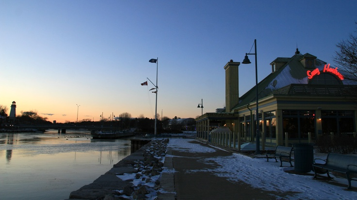 Snug Harbour restaurant in Port Credit in a cold winter evening.