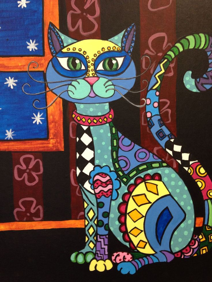 Folk Art Cat Painting by Gail Younts