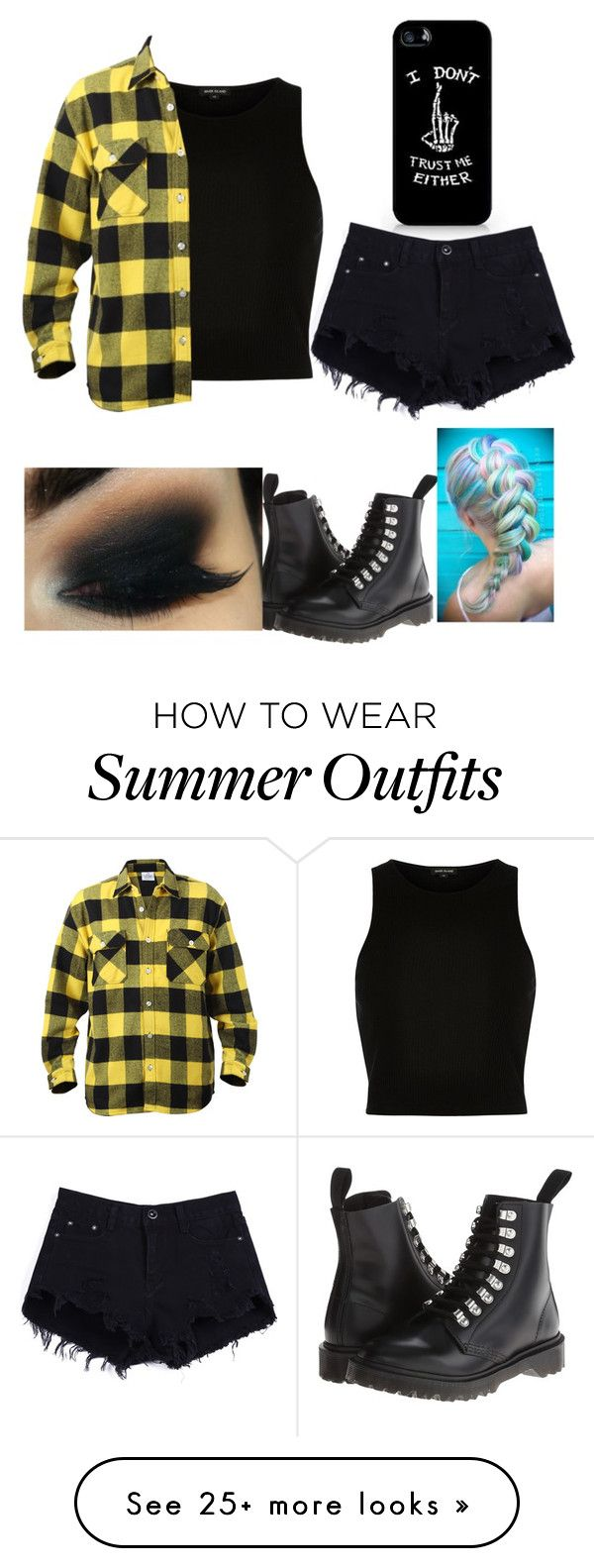 """""""Flannel Outfit #3"""" by ur-local-emo on Polyvore featuring River Island, Dr. Martens, women's clothing, women, female, woman, misses and juniors"""