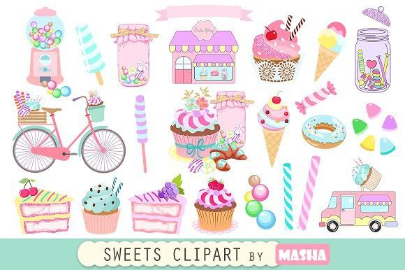 SWEETS clipart. Wedding Card Templates
