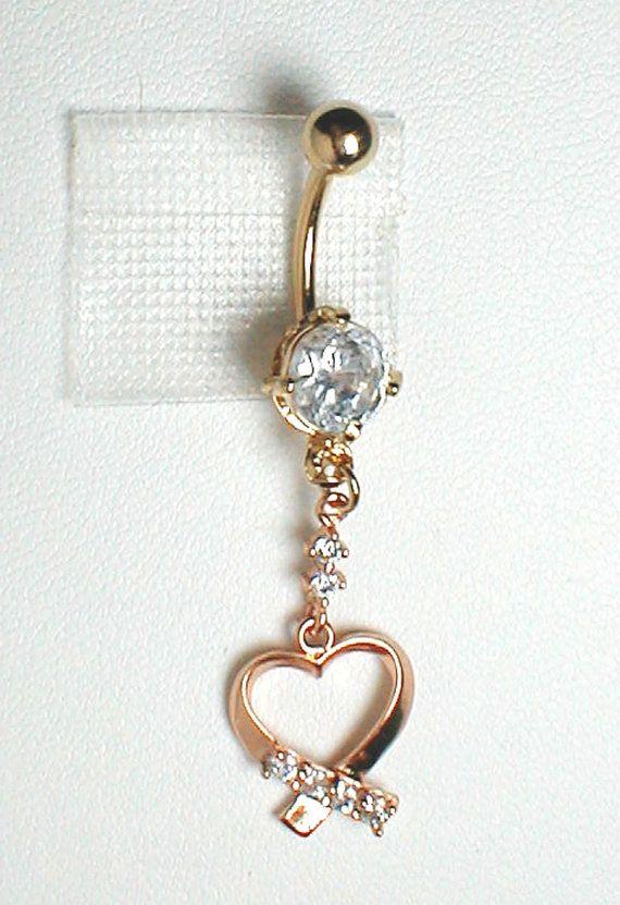 Unique Belly Ring  GF 9k Heart w/ CZ's by pondgazer2004 on Etsy, $15.95