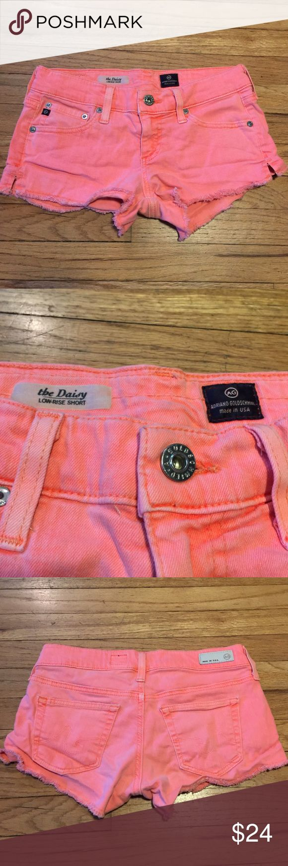 Adriano Goldschmied Daisy orange jean shorts - 25 Adriano Goldschmied The Daisy orange jean shorts - 25. Waist - 14 inches. Rise - 7 inches. Inseam - 2 inches. Great shape AG Adriano Goldschmied Shorts Jean Shorts