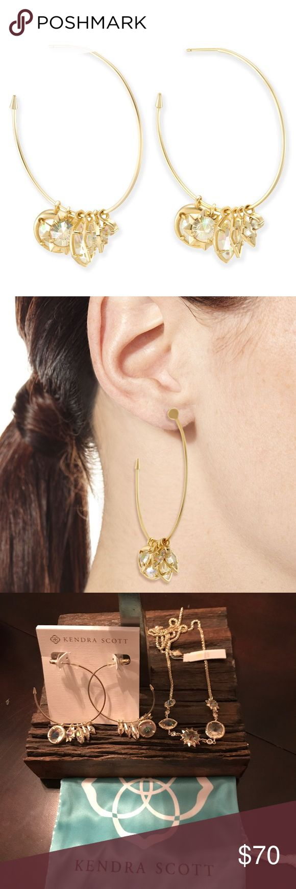 "Kendra Scott Alyssa Charm Hoop Earrings in Gold!! A classic hoop with infinite ways to wear, we love the brass Alyssa charm earrings for their versatility and their playful appeal. • Size: 1.75"" diameter, .87"" charm length • Quantity: 6 charms • Material: iridescent clear glass* Includes Kendra Scott Slip Bag Kendra Scott Jewelry Earrings"