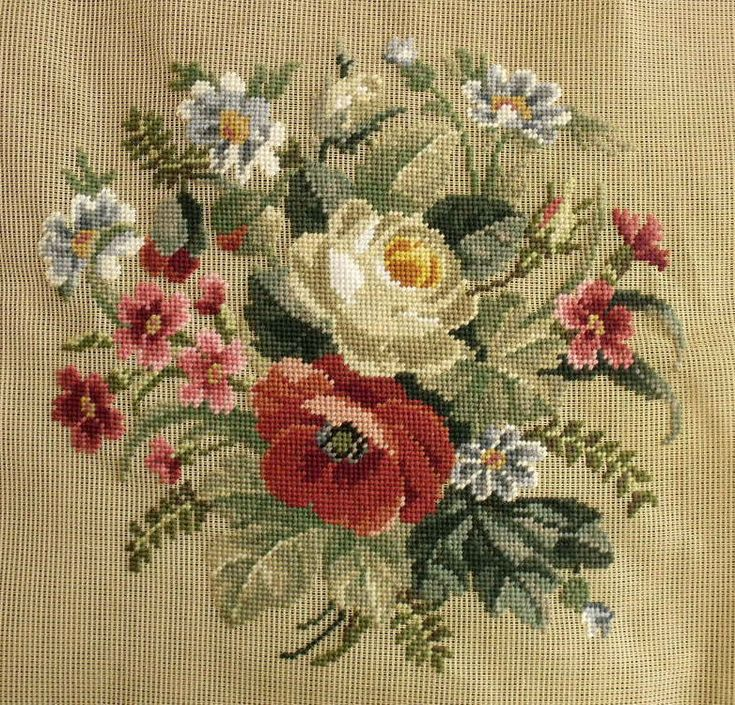 """27x27"""" PREWORKED Needlepoint Canvas - COUNTRY SOFT Poppy Bouquet Red Blue BIG"""