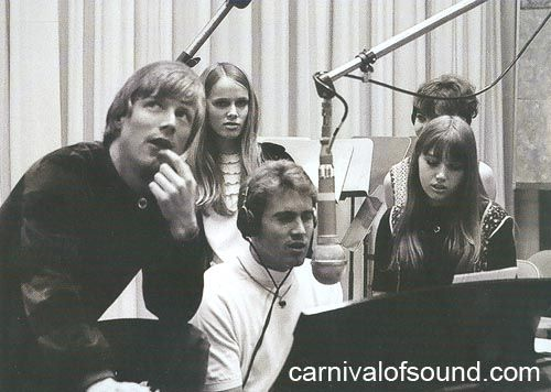 """Jan Berry (center) and Dean Torrence (left) in the studio. From the packaging for """"Carnival of Sound"""" (Rhino Handmade 2010). Dean Torrence personal collection."""