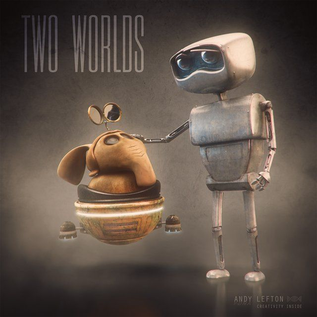 Finding hope in the bleakest of moments.  Two Worlds is a 3D animated short film by Andy Lefton that has evolved over many years with production taking approximately 5 years, when time permitted. Two Worlds is a story about two opposites coming together out of necessity. The story stays away from the quintessential element of 'opposites attract'. Having each character be a separate form of life, one being organic and the other mechanical helps drive the plot a bit more.