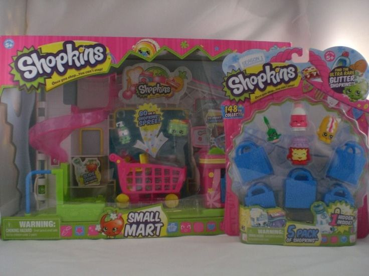 Shopkins Small Mart Mini Store with  2 exclusive Shopkins & cart + 5 PACK SET #MooseToys