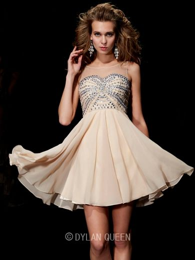 Scoop Beading Sleeveless Short/Mini DylanQueen Chiffon Cocktail Dress. Do you like it? http://www.dylanqueen.com/a-line-princess-scoop-beading-sleeveless-short-mini-chiffon-dress.html?ref=ztpin