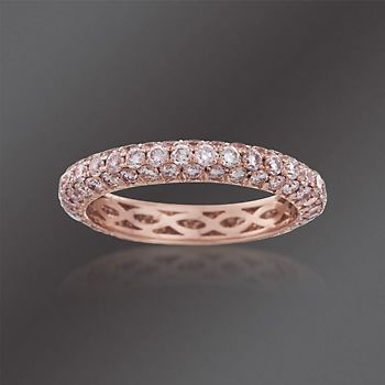 Henri Daussi 2.10 ct. t.w. Natural Light Pink Diamond Eternity Band in 14kt Rose Gold. Size 6