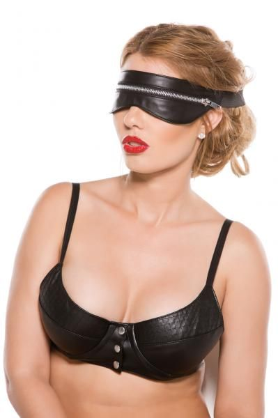 Black Faux Leather Zip Mask O/S