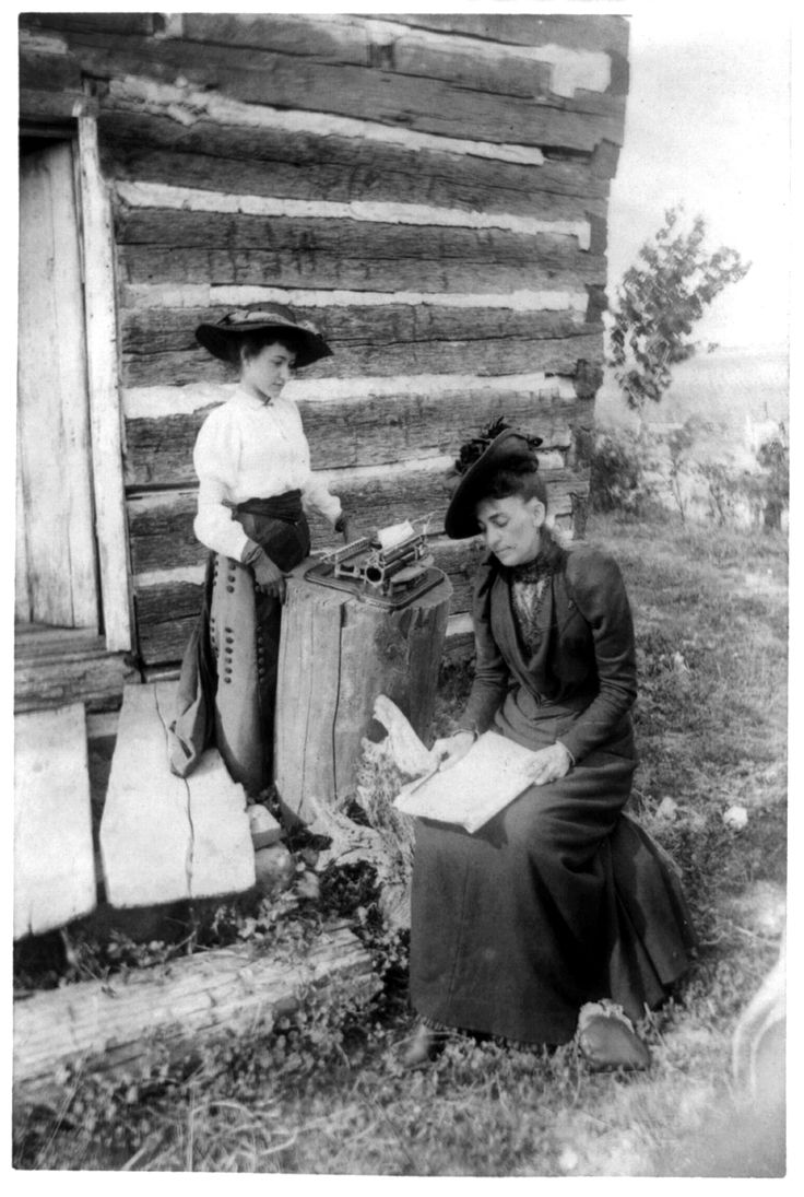 Circa 1891. Picture of Mrs. Norah Gridley, cousin of Mrs. Abraham Lincoln, and Miss May Coleman, the typewriter, taken outside of and near the corner of the Lincoln Cabin. Photograph shows a log cabin in Illinois that was built by Thomas Lincoln and visited by his son, Abraham Lincoln. LC-USZ62-13101 http://www.loc.gov #American #History #Illinois