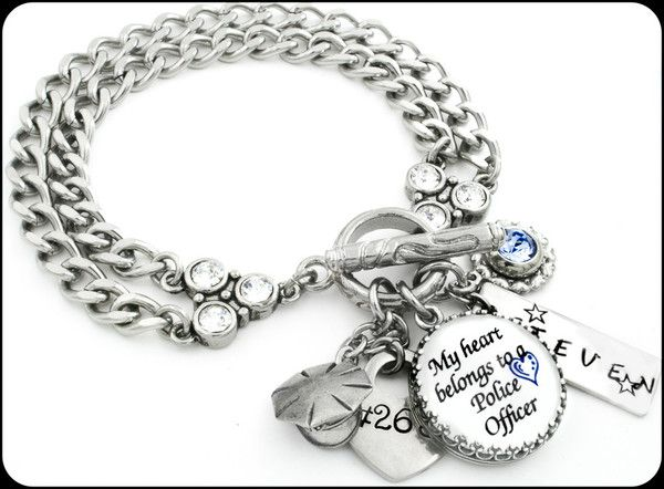 Personalized Police Officer Charm Bracelet My Unsung Hero S Pinterest And Wife