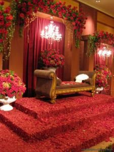 Pelamin. Malay wedding backdrop. Rose Red theme.
