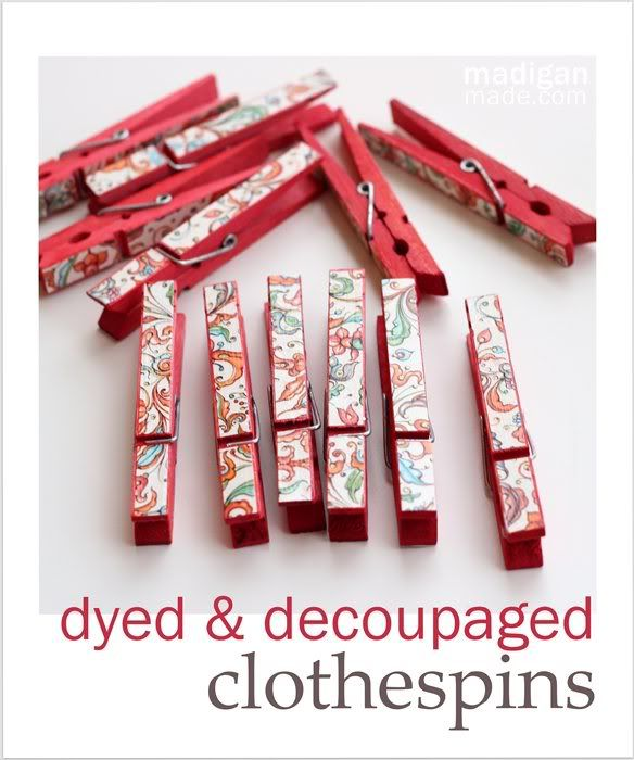 Dye some clothespins with fabric dye, apply some patterned paper with mod podge - maybe add a magnet for increased functionality!