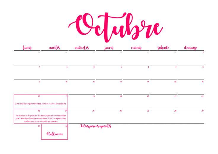 Resultado de imagen para octubre 2017 calendario mensual